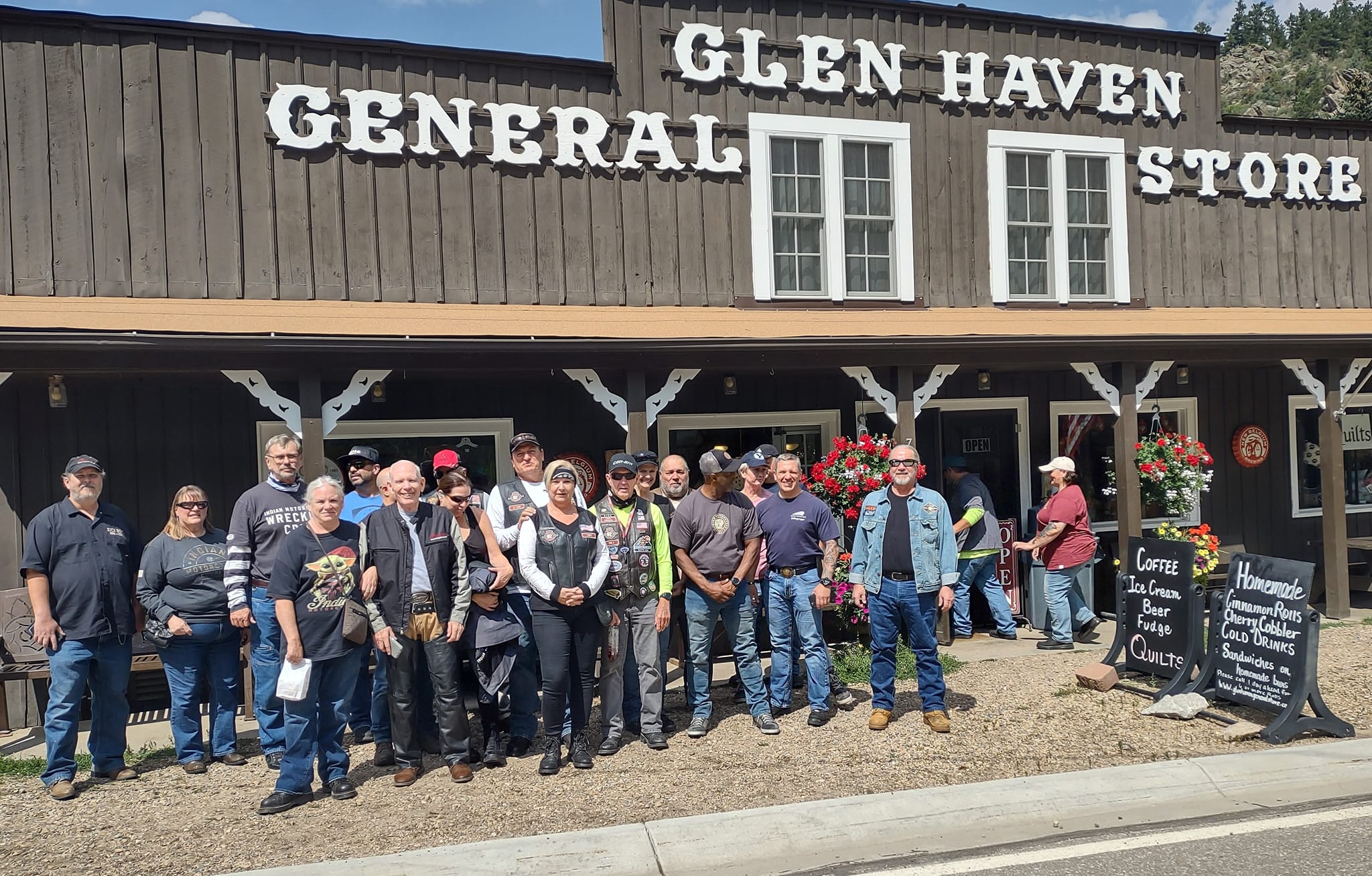 Northern Colorado Indian Motorcycle Riders Group at Glen Haven General Store